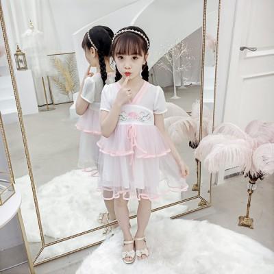 儿童唐装汉服2019新款女童甜美汉服连衣裙六一表演服摄影服旅游服