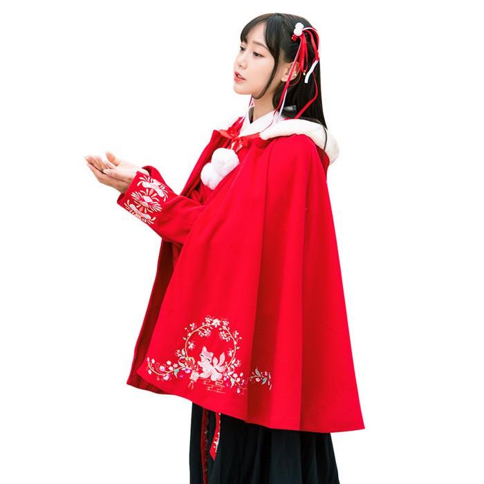 4179传统汉服重工刺绣学生连帽呢子改良汉元素日常披风